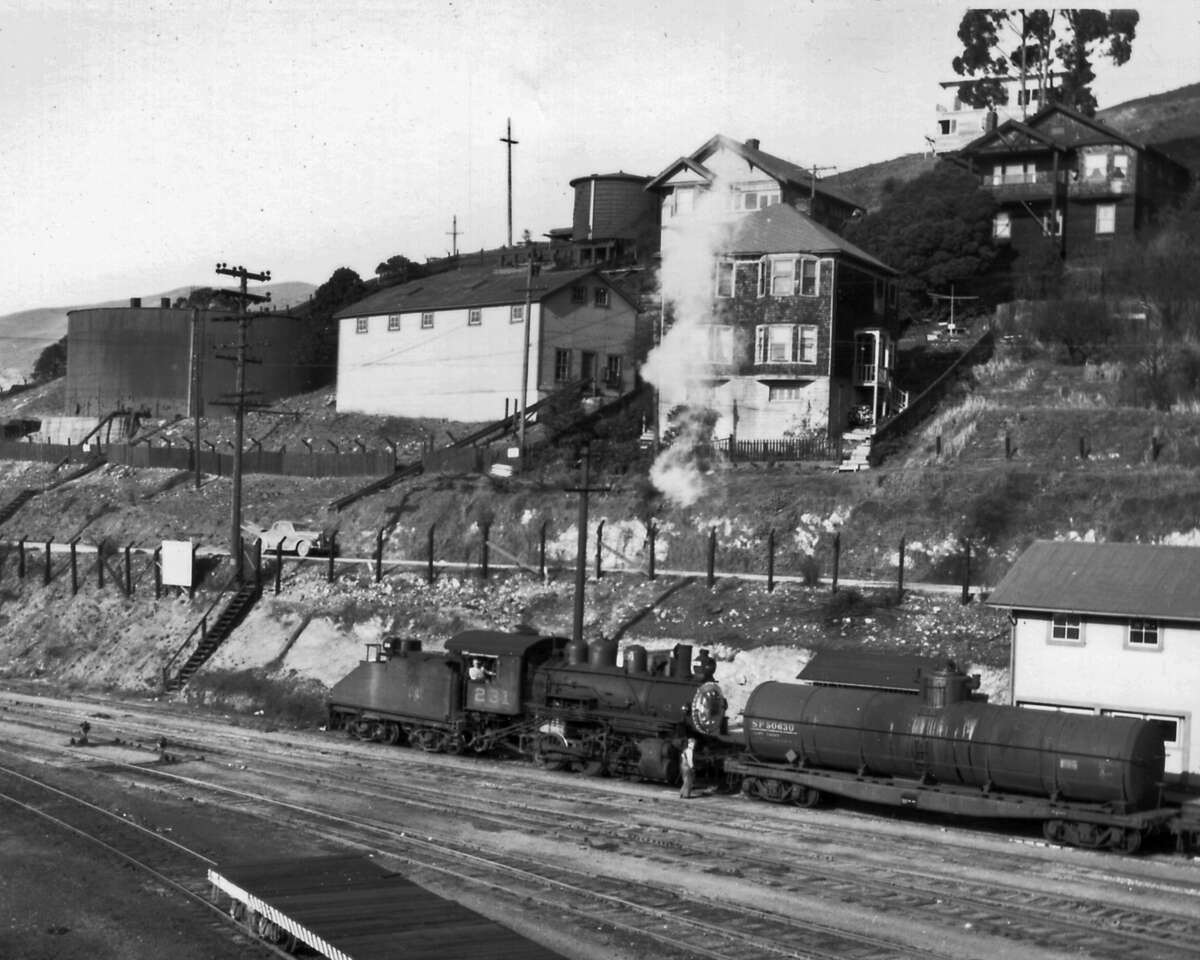 Historic photo of Tiburon shows the Northwestern Pacific Railroad chugging into town.