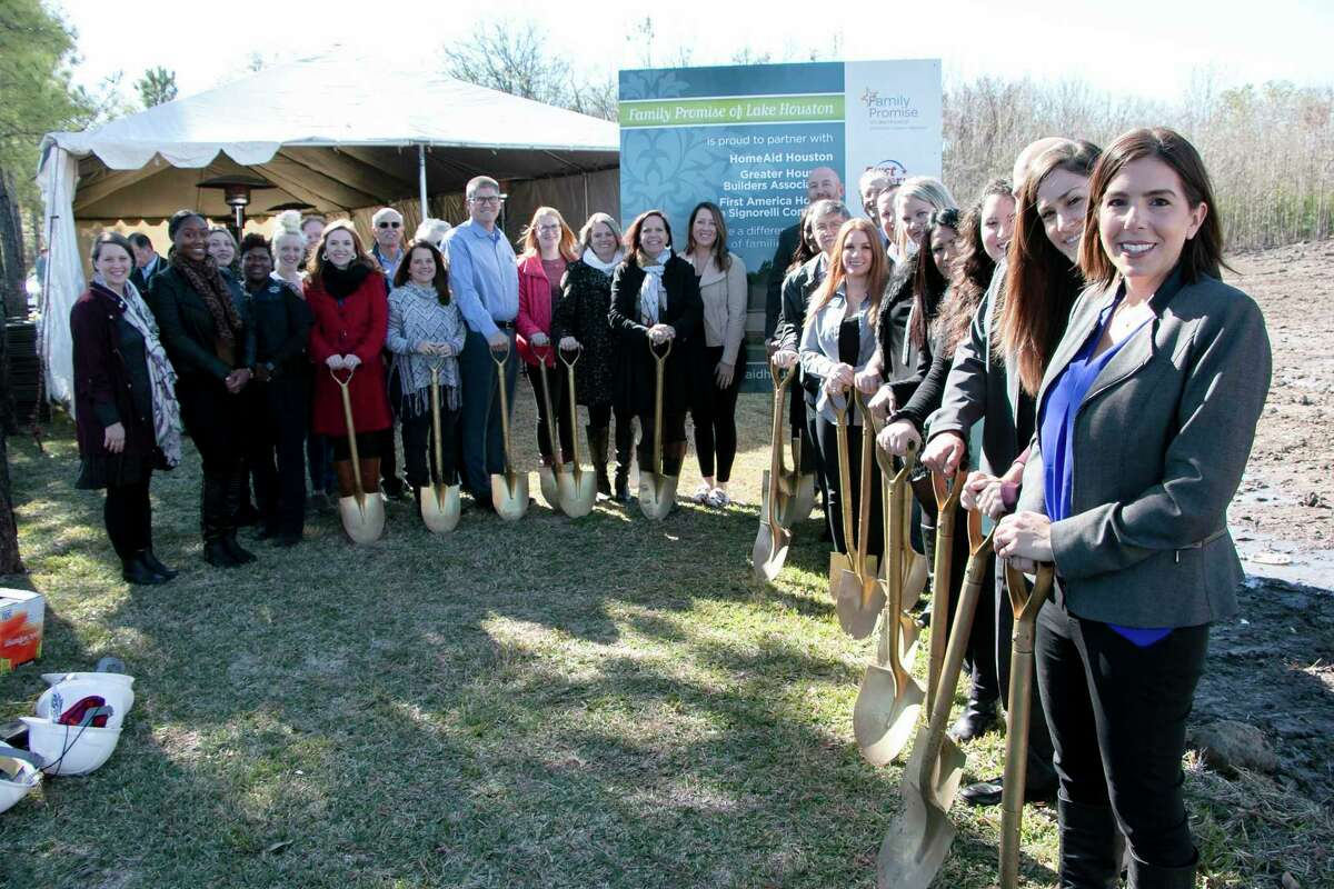 """Family Promise of Lake Houston hosted its """"Promise House"""" groundbreaking ceremony on Dec. 11 to celebrate the success of starting the construction of their new building which has an estimated finish date of August 2020. The Family Promise of Lake Houston Board, director and families, First America Home team, and HomeAid Board and director gathered in front of the construction site."""
