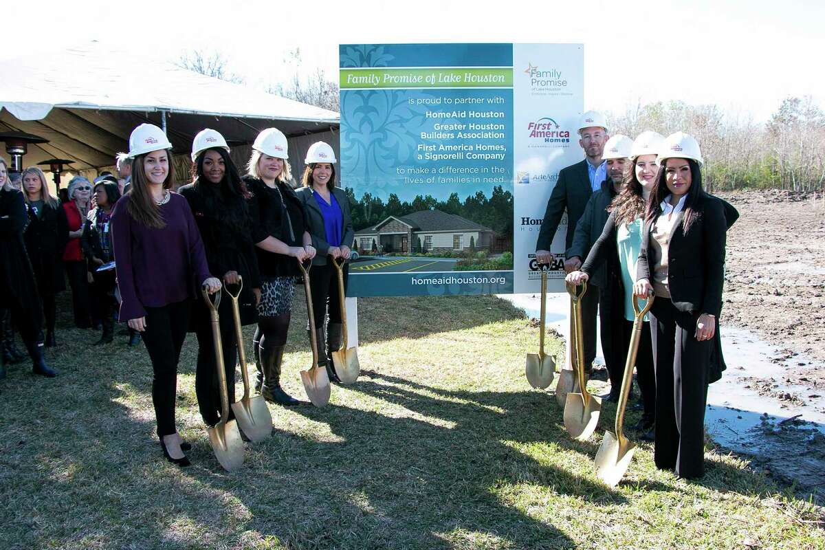 TheFirst America Home team gathered in front of the Family Promise of Lake Houston Promise House construction site on Dec. 11 for the groundbreaking cermony.