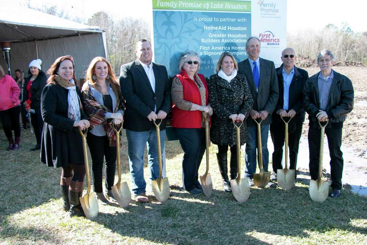 The Family Promise of Lake Houston board gathered in front of the Family Promise of Lake Houston Promise House construction site on Dec. 11, 2019, for the groundbreaking cermony.
