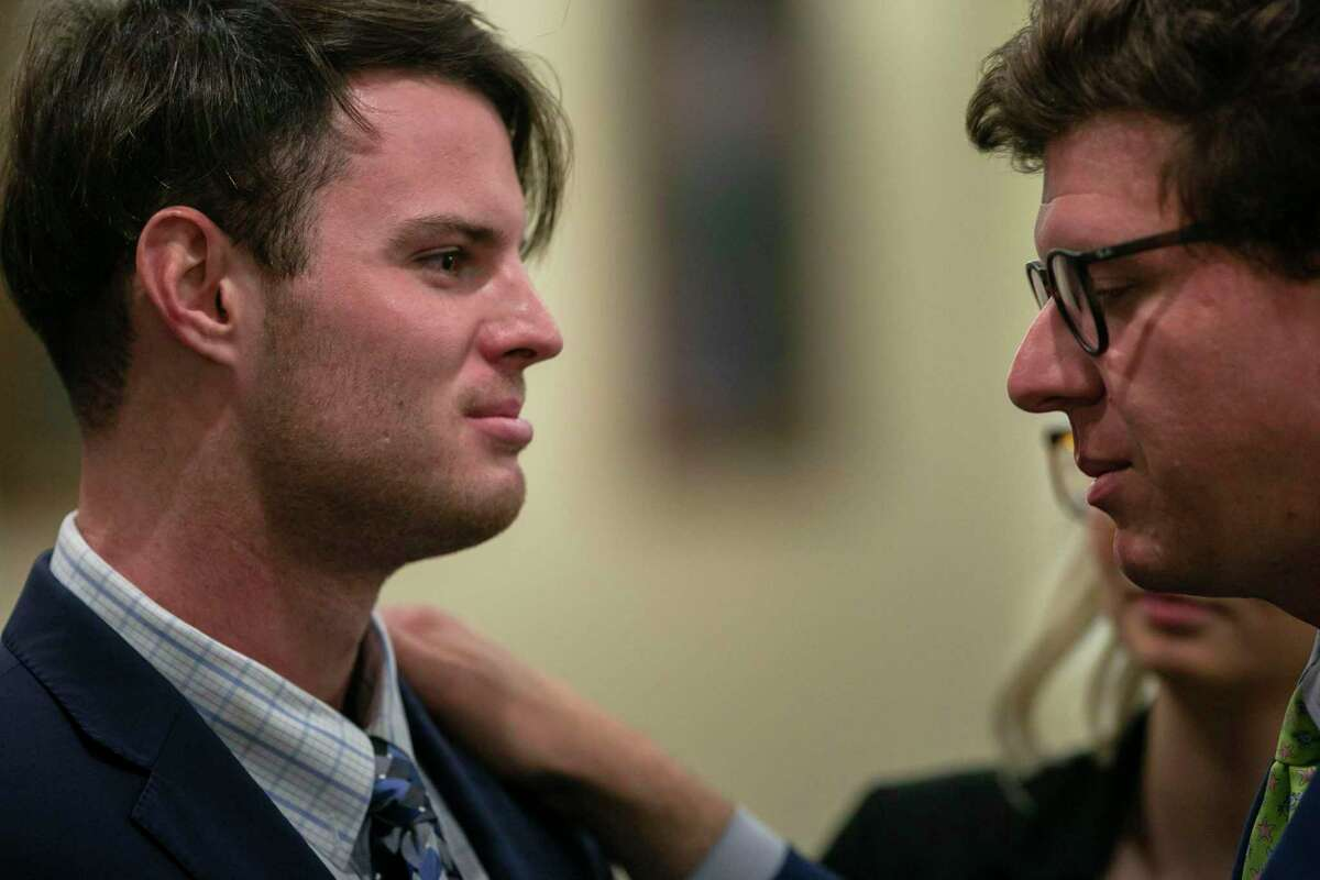 Mark Howerton, left, talks with his defense attorney, John Hunter, after the jury recessed for the day following deliberations in Howerton's murder trial on Wednesday, Dec. 11, 2109, in the 144th state District Court in the Cadena-Reeves Criminal Justice Center in San Antonio. The 24-year-old Tyler man is accused of killing his girlfriend, Trinity University student Cayley Mandadi, in 2017.
