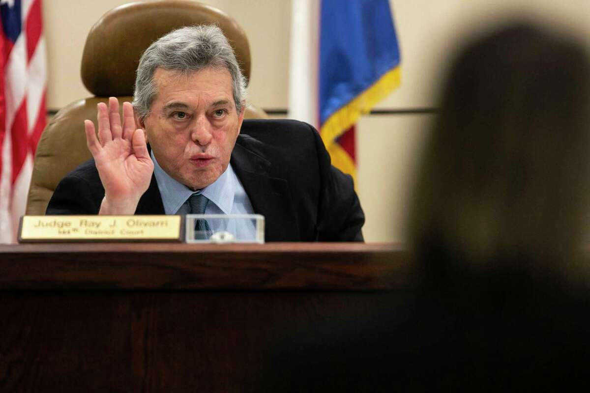 Visiting Judge Raymond Angelini is presiding over the murder trial of Mark Howerton, accused of killing Trinity University student Cayley Mandadi, in the 144th state District Court in the Cadena-Reeves Criminal Justice Center. He was addressing lawyers during closing arguments on Wednesday, Dec. 11, 2019.