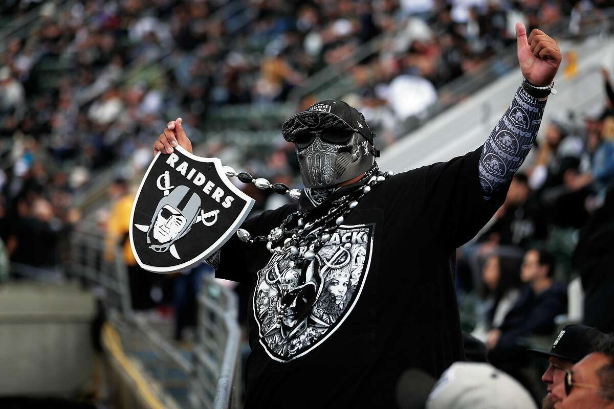 Shea Talasmaynewa cheers in the first quarter as the Oakland Raiders played the Tennessee Titans at Coliseum in Oakland, Calif., on Sunday, December 8, 2019.
