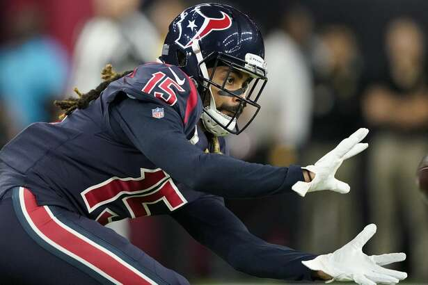 Houston Texans wide receiver Will Fuller (15) before an NFL football game against the Indianapolis Colts Thursday, Nov. 21, 2019, in Houston. (AP Photo/David J. Phillip)