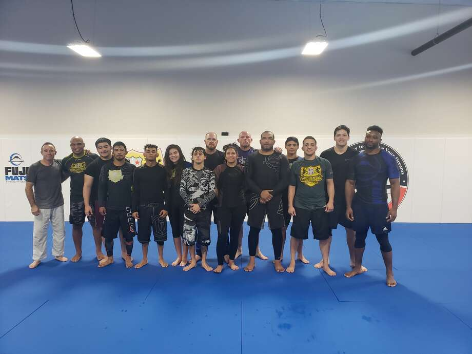 Members of the Bastos Brazilian Jiu-Jitsu and Fitness academy pose for a group picture. The academy is sending 14 competitors to the IBJJF No-Gi Jiu-Jitsu World Championship, today through Sunday in Anaheim, Calif. Photo: Courtesy Photo