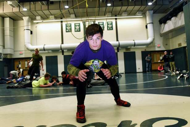 Shenendehowa High School wrestler Brock Delsignore is pictured on Wednesday, Dec. 11, 2019, at Shenendehowa High School in Clifton Park, N.Y. Delsignore recently made an oral commitment to North Carolina State. (Will Waldron/Times Union)