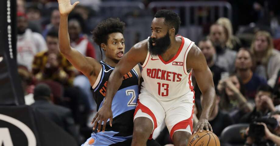 Houston Rockets' James Harden (13) drives pat Cleveland Cavaliers' Collin Sexton (2) in the first half of an NBA basketball game, Wednesday, Dec. 11, 2019, in Cleveland. (AP Photo/Tony Dejak) Photo: Tony Dejak/Associated Press