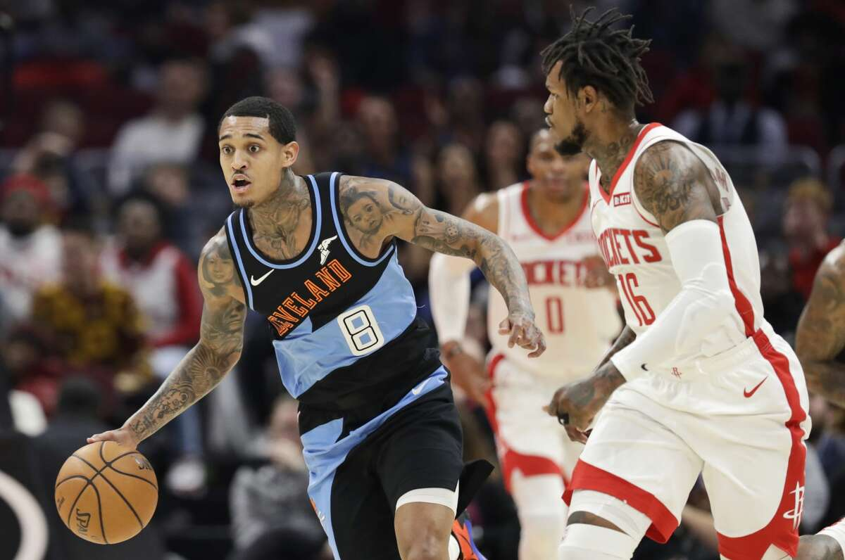 Cleveland Cavaliers' Jordan Clarkson (8) drives against the Houston Rockets in the first half of an NBA basketball game, Wednesday, Dec. 11, 2019, in Cleveland. (AP Photo/Tony Dejak)