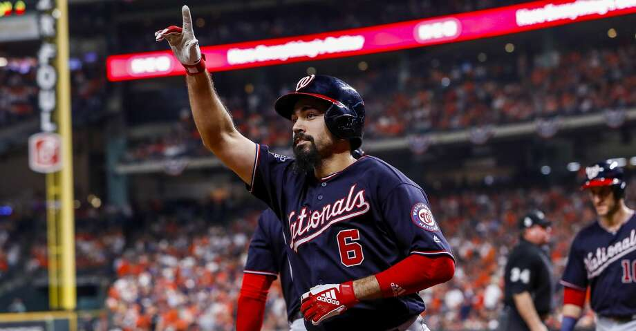 PHOTOS: Former Houston high school stars taken in the 2019 MLB draft Washington Nationals third baseman Anthony Rendon (6) celebrates his two-run home run to left field off of Houston Astros relief pitcher Will Harris (36) during the seventh inning of Game 6 of the World Series at Minute Maid Park on Tuesday, Oct. 29, 2019, in Houston. >>>A look at former players who went to Houston area high schools and where they went in the 2019 Major League Baseball Draft ... Photo: Brett Coomer/Staff Photographer