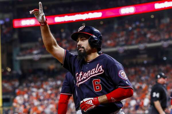 Washington Nationals third baseman Anthony Rendon (6) celebrates his two-run home run to left field off of Houston Astros relief pitcher Will Harris (36) during the seventh inning of Game 6 of the World Series at Minute Maid Park on Tuesday, Oct. 29, 2019, in Houston.