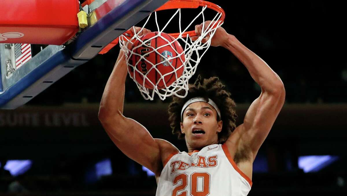 Texas forward Jericho Sims suffered a stress fracture in his back that ended his season in mid-February. He's expected to play in the season opener Nov. 25 against UT-Rio Grande Valley.