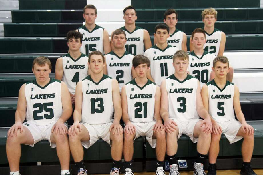 The 2019-2020 Laker boys basketball team is, front row, Ethan Wissner, Garet Bowles, Jared Chandler, Logan Collison-Russell and Koty Shelter; middle row, Mason Dubs, Collin Schuette, Dylan Wehner and Brady Krohn; and back row, Hunter Krohn, Anthony Sheridan, Mason Williams and Hunter Keim. Not pictured is Sawyer Kozfkay. Photo: Eric Rutter/Huron Daily Tribune