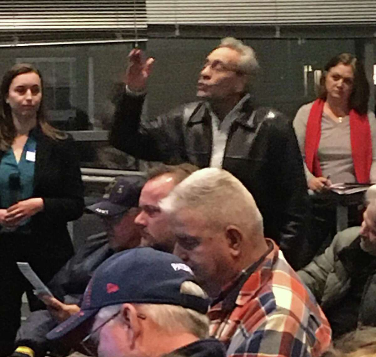 Elmer Street resident Ken Bellelo of New Haven speaks on Wednesday, Dec. 11, 2019 at the first of two public meetings on Tweed New Haven Regional Airport's upcoming master plan update. A second meeting will take place on Thursday, Dec. 12 at 6:30 p.m. at the East Haven Senior Center.