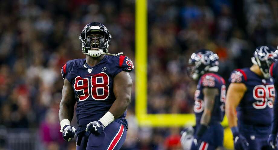 PHOTOS: 2019 Texans' 'My Cause, My Cleats' Houston Texans defensive end D.J. Reader (98) celebrates a stop during the third quarter of an NFL game at NRG Stadium Sunday, Dec. 1, 2019, in Houston. >>>See what the Texans will wear during this year's My Cause, My Cleats' campaign ... Photo: Godofredo A. Vásquez/Staff Photographer