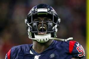 Houston Texans defensive end D.J. Reader (98) celebrates a stop during the third quarter of an NFL game at NRG Stadium Sunday, Dec. 1, 2019, in Houston.