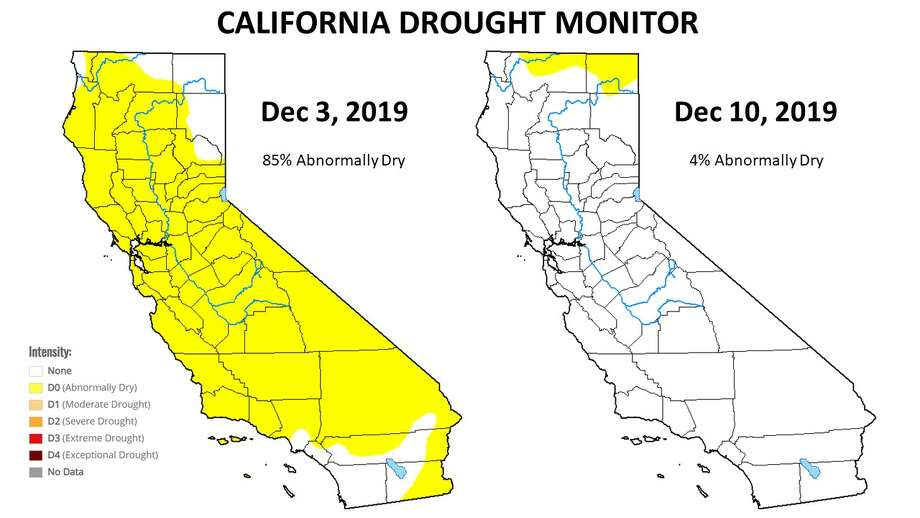 """The latest federal Drought Monitor Map, one way to measure drought that's mainly used in agriculture, shows only 3.5% of the state as """"abnormally dry"""" with a tiny sliver of yellow on the California-Oregon border. Only a week ago, 85 percent of the state was yellow. Photo: US Drought Monitor"""