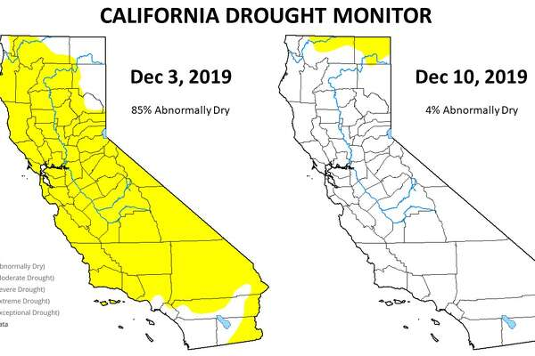 """The latest federal Drought Monitor Map, one way to measure drought that's mainly used in agriculture, shows only 3.5% of the state as """"abnormally dry"""" with a tiny sliver of yellow on the California-Oregon border. Only a week ago, 85 percent of the state was yellow."""