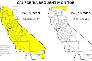 """The  latest federal Drought Monitor Map , one way to measure drought that's mainly used in agriculture, shows only 3.5% of the state as """"abnormally dry"""" with a tiny sliver of yellow on the California-Oregon border. Only a week ago, 85 percent of the state was yellow."""