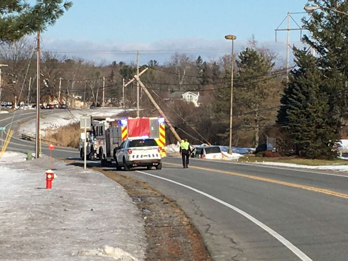 Balltown Road in Niskayuna was closed Thursday morning after a minivan crashed into a utility pole between River Road and Aquaduct Road, leaving the driver injured and power lines in the street.