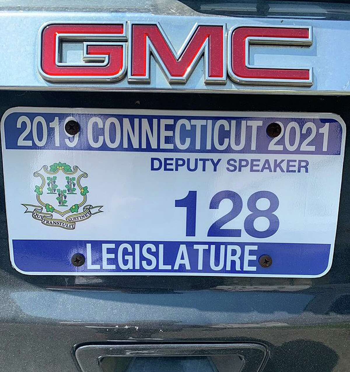 The license plates on the vehicle being driven by Bridgeport State Rep. Christopher Rosario on Wednesday, Dec. 11, 2019, in Bridgeport, Conn. An officer told Rosario that the plates that he had on his vehicle had been reported stolen out of Meriden.