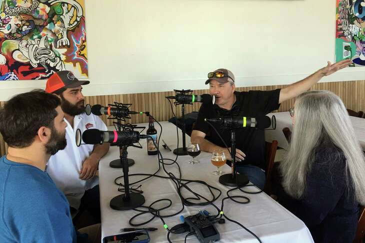 From left, co-founder Rassul Zarinfar, executive chef Arash Kharat, Chronicle barbecue columnist Chris Reid and restaurant critic Alison Cook during a recording of the Houston Chronicle's BBQ State of Mind podcast on the third floor of Buffalo Bayou Brewing Co. on Summer Street in Houston, Dec. 11, 2019.