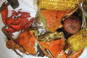 Blue crab is one of the seafood boil options, with corn and potatoes for an extra charge, at Smashin' Crab.