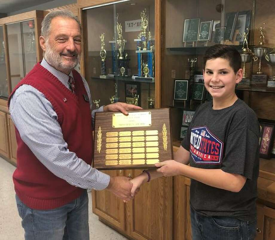 "August Frankford of Bethalto, a Grade 7 student, received the Principal's Award as special recognition for his science project, ""The Potability of Water,"" in Zion Lutheran School's 2019 Science and History Fair."