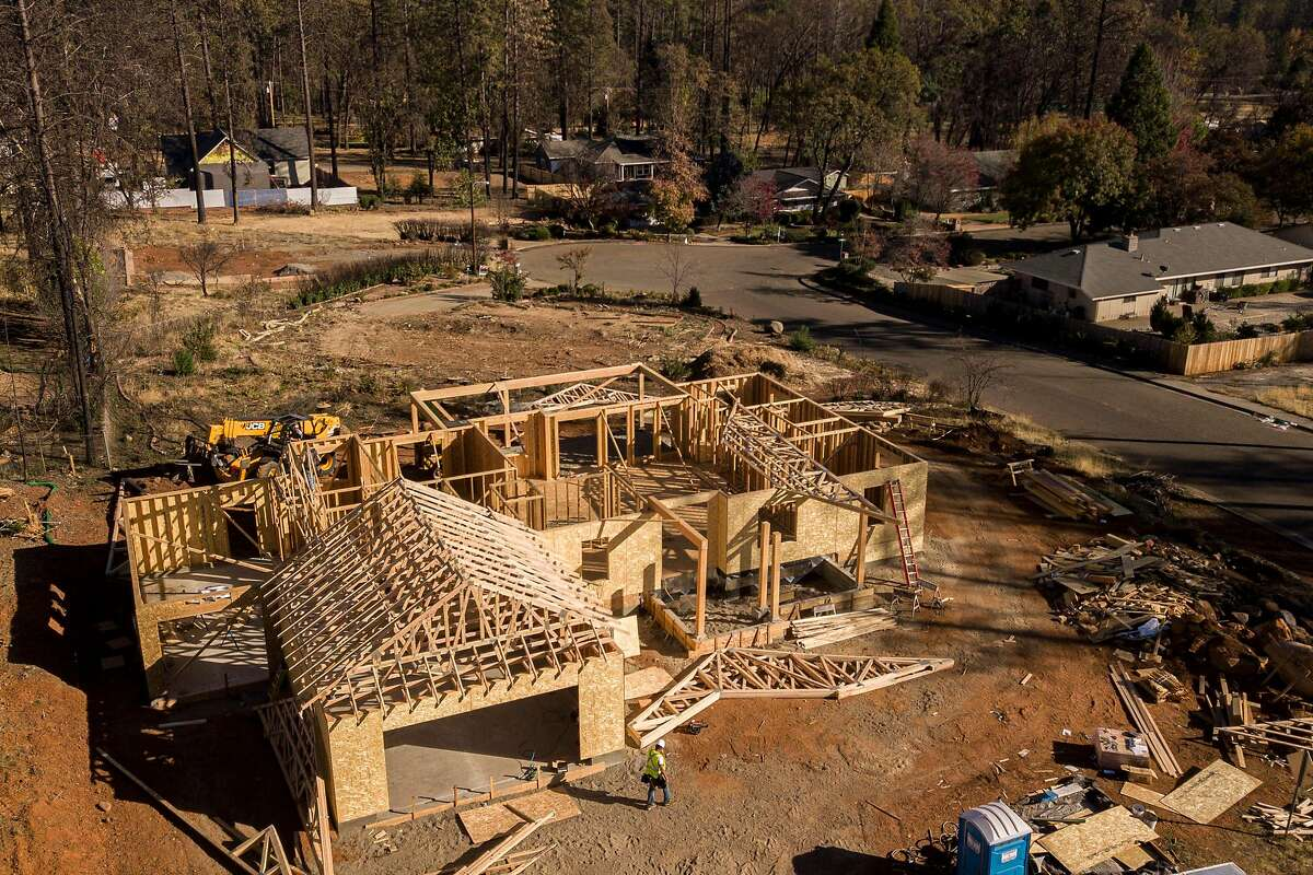 A home being built at Country Oak Drive and Dawnridge Court on Monday, Nov. 4, 2019, in Paradise, Calif. The neighborhood was destroyed in the 2018 Camp Fire.