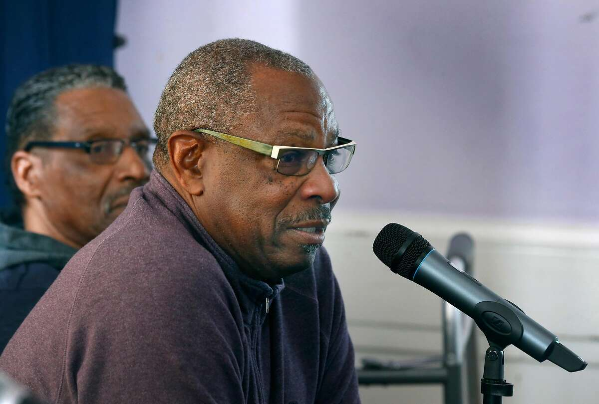 Former San Francisco Giants manager Dusty Baker speaks at a news conference to announce the creation of a baseball instruction and training software called The Holy Grail at De Fremery Park in Oakland, Calif. on Wednesday, Nov. 27, 2019.