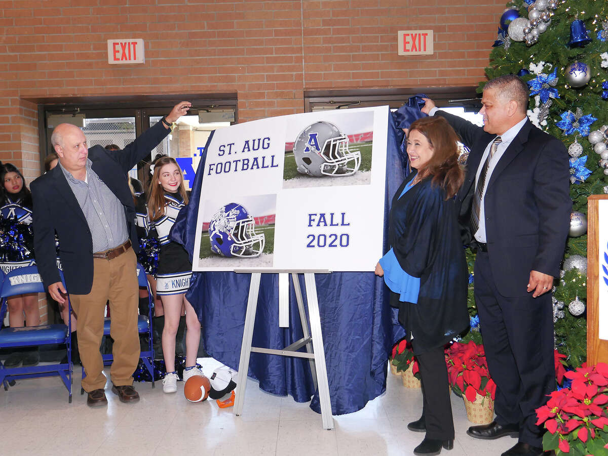 Saint Augustine High School announced the school's participation in a 6-man football league, set to start in Fall 2020, during a press conference at the school's Wellness Center, Wednesday, December 11, 2019. Jerry Martinez as named as the head coach for theinauguralseason. On hand for the unveiling of the program were, from left, Assistant Principal/Athletic Director Rafael Romo, student Sophia Betancourt, Principal Olga Gentry and Coach Martinez.