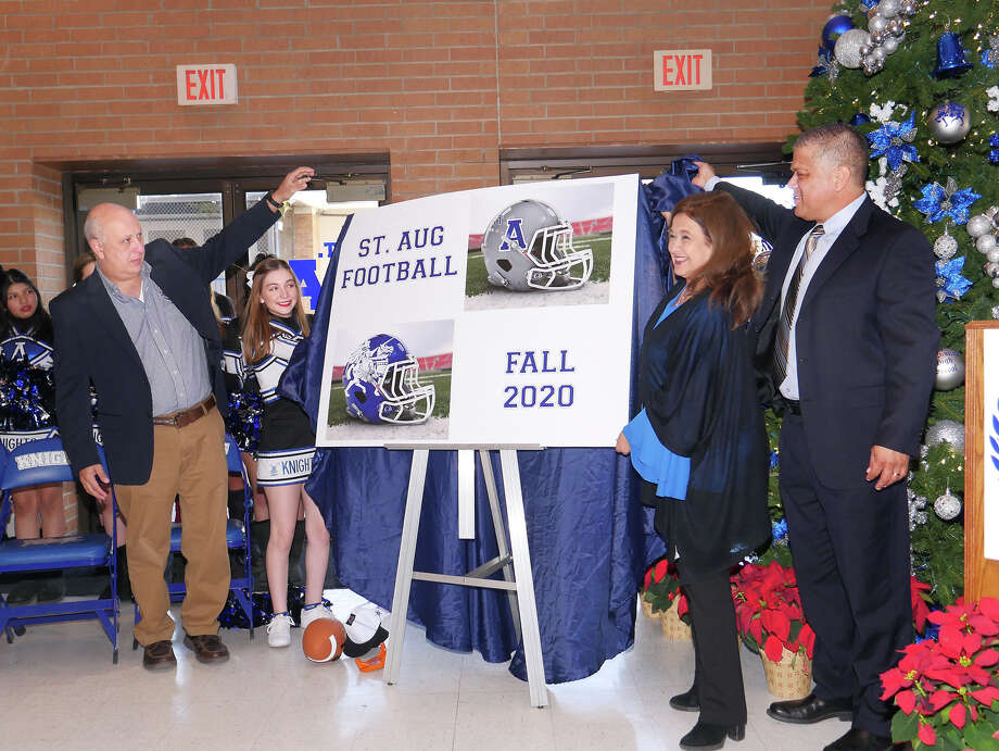 Saint Augustine High School announced the school's participation in a 6-man football league, set to start in Fall 2020, during a press conference at the school's Wellness Center, Wednesday, December 11, 2019. Jerry Martinez as named as the head coach for the inaugural season. On hand for the unveiling of the program were, from left, Assistant Principal/Athletic Director Rafael Romo, student Sophia Betancourt, Principal Olga Gentry and Coach Martinez. Photo: Cuate Santos/Laredo Morning Times