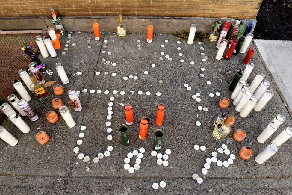 Memorial for a recent fatal shooting at the intersection of Second and Judson streets on Thursday, Dec. 12, 2019 in Albany, N.Y. (Lori Van Buren/Times Union)