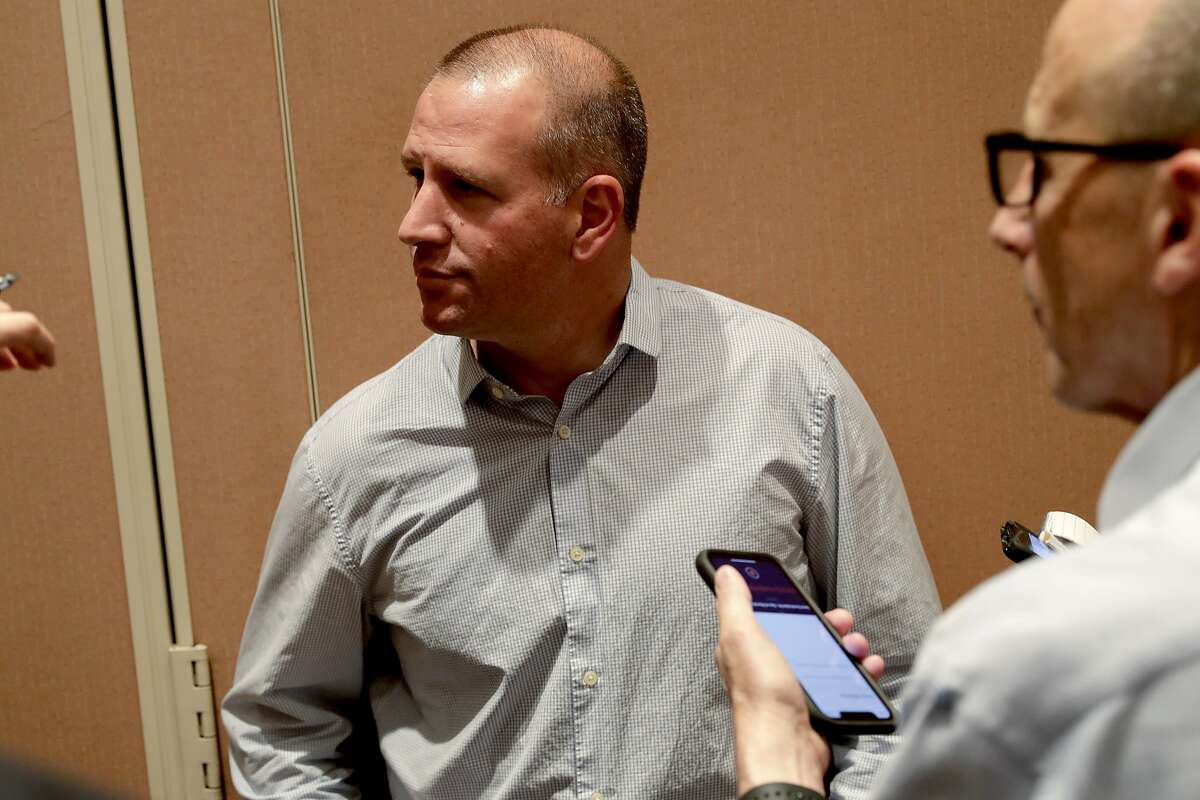 Oakland Athletics general manager David Forst speaks during a media availability during the Major League Baseball general managers annual meetings Tuesday, Nov. 12, 2019, in Scottsdale, Ariz. (AP Photo/Matt York)