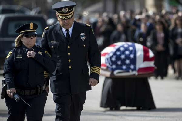 Houston Police Chief Art Acevedo prepares to speak at the funeral for Houston police Sgt. Christopher Brewster on Thursday, Dec. 12, 2019, in Houston. Brewster was shot and killed in the line of duty while responding to a domestic violence call.