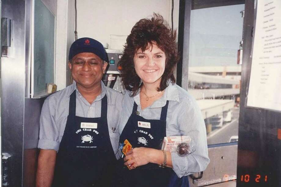 Marylin Pier and her co-worker at the now closed Crab Pot in SFO in 1991. Photo: Marylin Pier