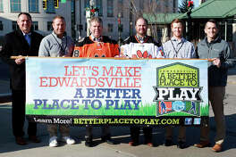 From left are City Administrator Kevin Head; EHS Track Coach Chad Lakatos; Mayor Hal Patton; Randy Gori of The Gori Law Firm, Gori, Realtors and Gori Property Management; Edwardsville High School Hockey Coach Jason Walker; and Parks and Recreation Director Nate Tingley.