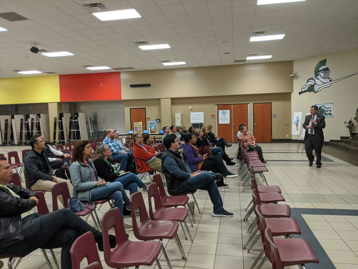 Community members gather at the first of three meetings set up to solicit feedback from residents regarding the rezoning of several elementary schools in The Woodlands.
