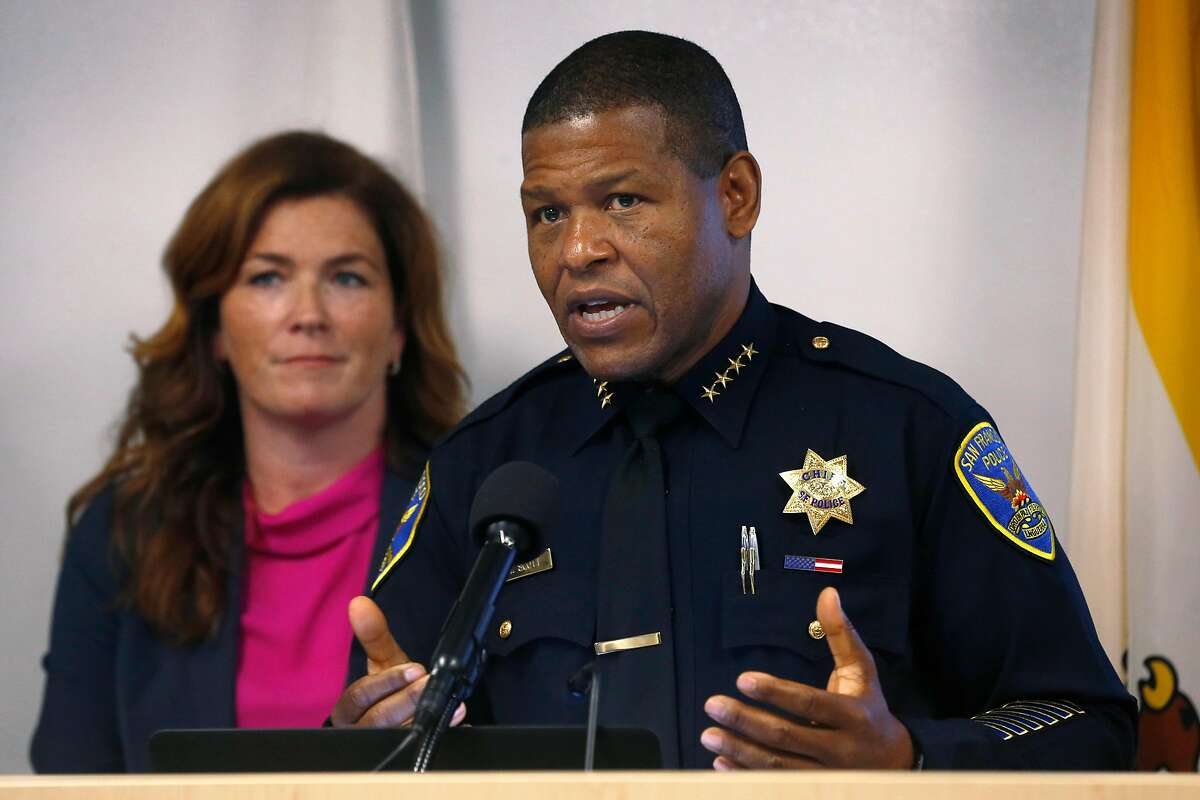 Police Chief Bill Scott speaks at a news conference at the District Attorney's office in San Francisco, Calif. on Thursday, Dec. 12, 2019 to announce the seizure of more than $2 million of stolen property following a multi-agency investigation called Operation Focus Lens.