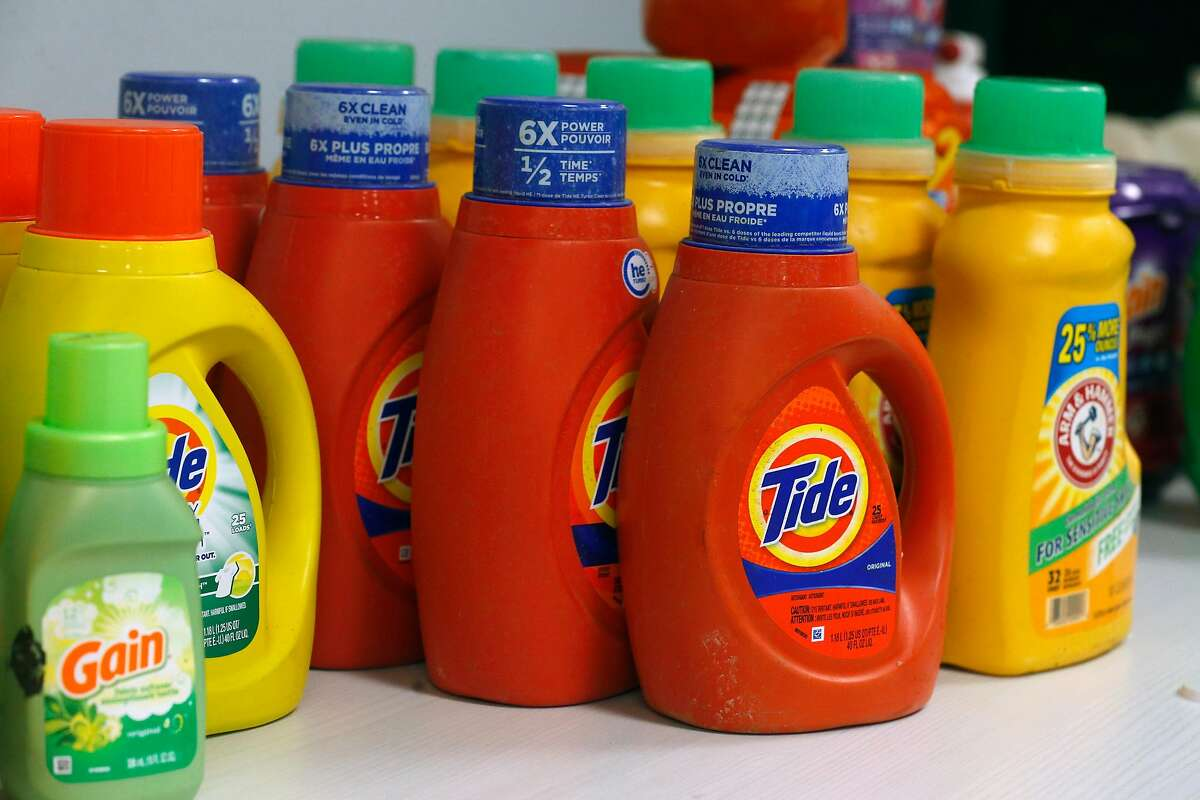 Laundry detergent is displayed at a news conference at the District Attorney's office in San Francisco, Calif. on Thursday, Dec. 12, 2019 to announce the seizure of more than $2 million of stolen property following a multi-agency investigation called Operation Focus Lens.