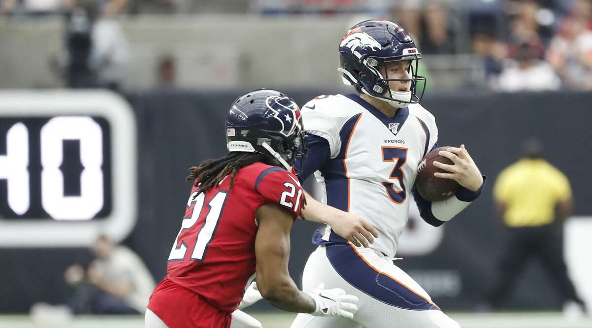 PHOTOS: Texans vs. Broncos Denver Broncos quarterback Drew Lock (3) runs the ball against Houston Texans cornerback Bradley Roby (21) during the third quarter of an NFL football game at NRG Stadium, Sunday, Dec. 8, 2019, in Houston. >>>Look back at photos from the Texans' game last Sunday ...