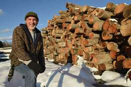 Co-owner Ray Juliano stands in front of pilings used on the old Tappan Zee bridge up for sale at Cooksburg Lumber Company on Wednesday, Dec. 11, 2019 in Preston Hollow, N.Y. The lumberyard currently has nearly 800,000 board feet of these pilings. (Lori Van Buren/Times Union)