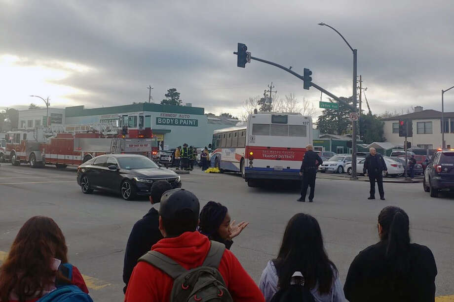 At about 8:45 a.m., the pedestrian was struck by the bus on James Avenue near El Camino Real in Redwood City, SamTrans spokesman Dan Lieberman said. Photo: Victor Lopez