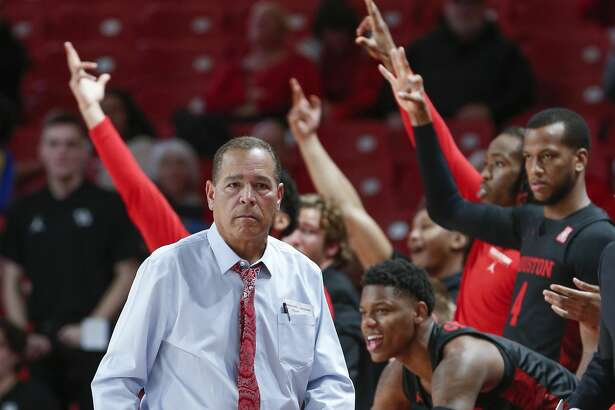 Houston Cougars head coach Kelvin Sampson watches action against Texas-Arlington Mavericks during the first half of an NCAA basketball game at Fertitta Center Wednesday, Dec. 11, 2019, in Houston.