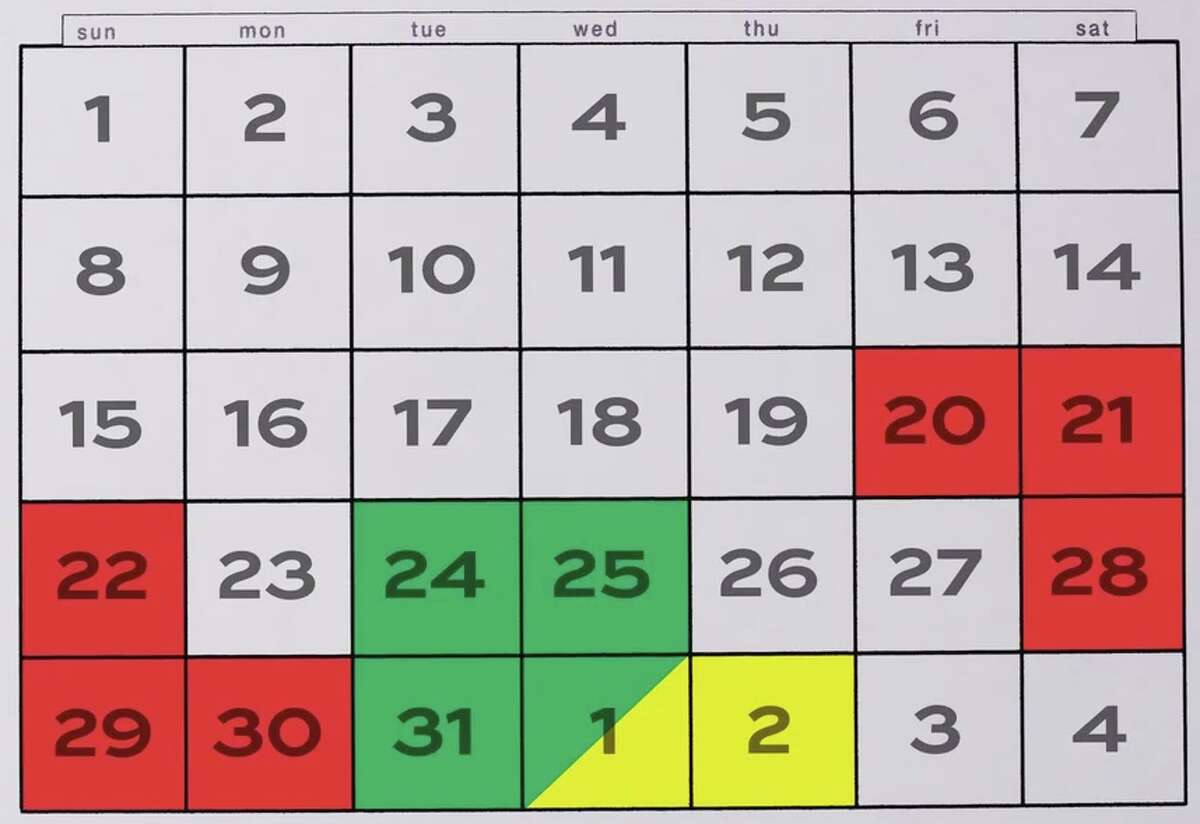 Happy holiday flying! This calendar shows the busiest days (red), the slowest days (green) and caution days (yellow).
