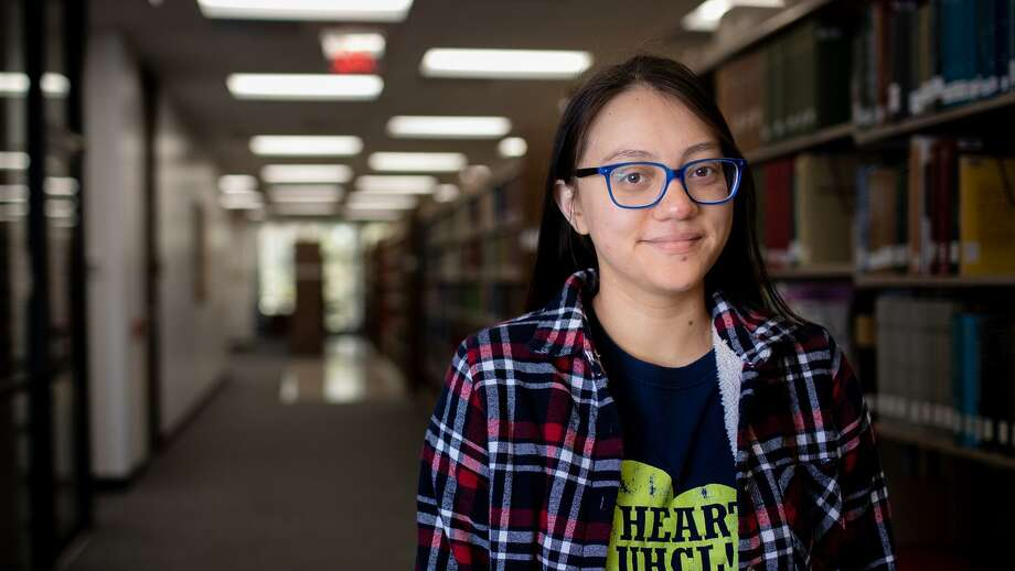 Natalia Marfil Cepeda receives a bachelor's degree from the University of Houston-Clear Lake this month. Though the transition from high school to college was jarring, she said, she learned to follow her own timetable with help from the school's counseling department. Photo: Courtesy Of University Of Houston-Clear Lake