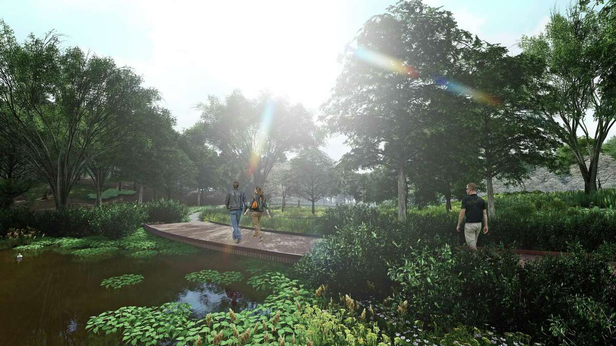 A rendering of the deck over the east pond at the Sandy Hook memorial, designed by San Francisco-based SWA.