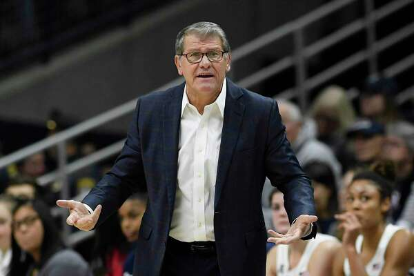 UConn head coach Geno Auriemma in the first half of an NCAA women's basketball game on Dec. 9 in Storrs.