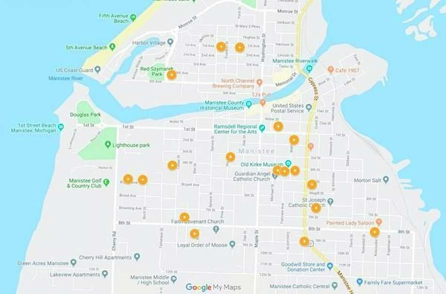 Between mid-November and Dec. 11, the City of Manistee Department of Public Safety has received 18 reports of larceny from a vehicle. The locations of the reports are indicated by an orange circle. (Google map)