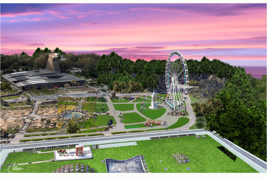 Renderings of what the new Golden Gate Park observation wheel will look like on Music Concorse. Photo: Skystar