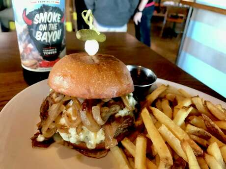 Black & Bleu burger with 1836 Copper Ale Boozy Onions at Buffalo Bayou Brewing Company